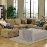 U Shaped Living Room Furniture With Brown Color Pillows