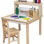 Unfinished wooden craft table for kid with shelf for storing crafting tools a simple wooden chair