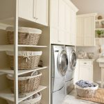Vertical shelves with rattan basket storage units upper white cabinet system a washer machine a dryer machine dried made laundry mat idea
