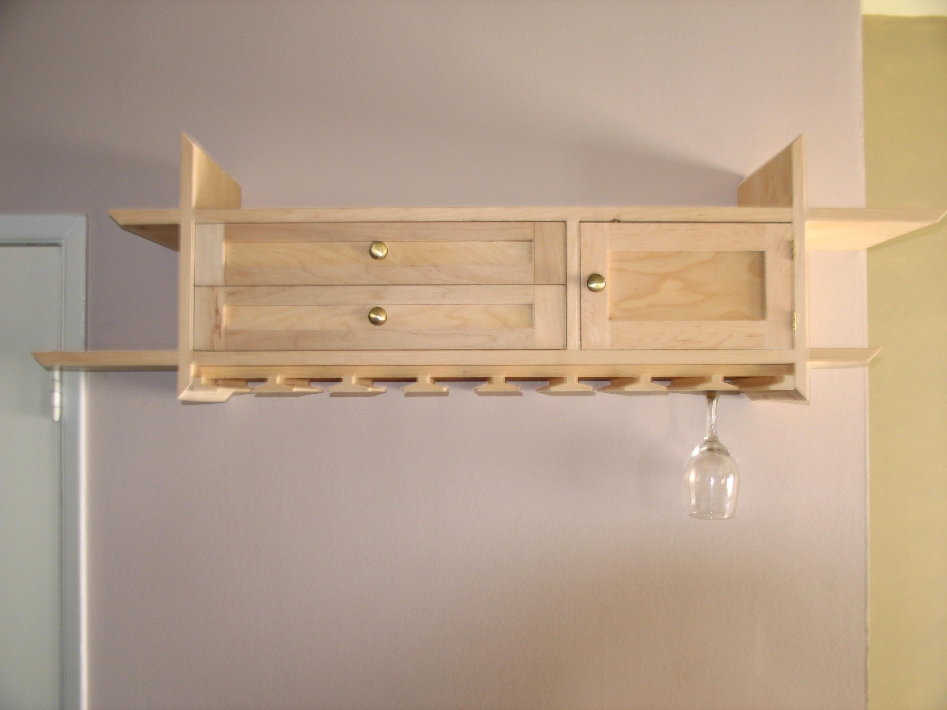 Wall Mounted Wine Gl Rack With Simple Storage Place
