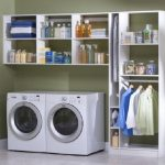 Wall laundru shelves idea in white two units of washing and drying machines