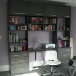 Wall unit with storage system desk in the center a modern white chair with wheels