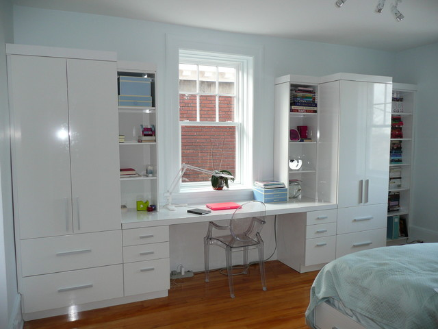 Wall Unit With Two Tall Cabinets Shelves And Drawer System Desk In Bedroom A Transpa