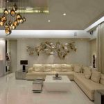 Warm And White Luxury Living Room Theme With L-shaped Sectional Sofa And Unique Chandelier