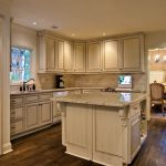 Warm White Kitchen Wooden Set With Hardwood Floor