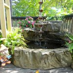Waterfall Pond With Fresh Plants And Cool Design