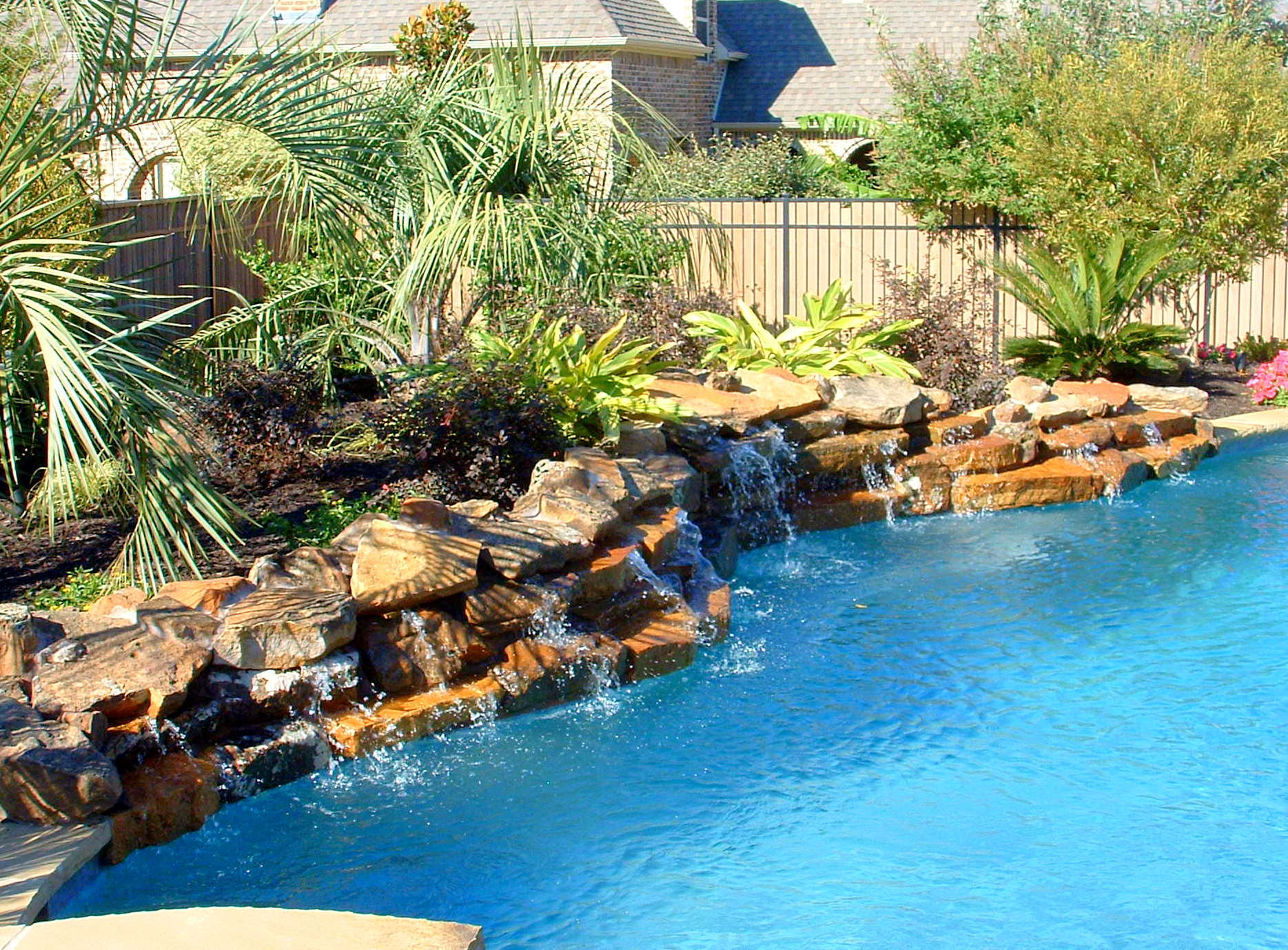 Stone Waterfalls Backyard