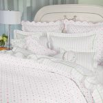 White And Red Polcadot Bedding With White Lamp And Grey Wallpaper