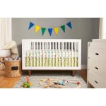 White BAby Mod Cribs With Colorful Decoration Grey Rug On Hardwood Floor White Cabinet And Basket