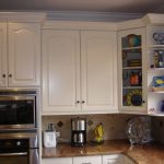 White Kitchen Set With Corner Cabinet Glass Door