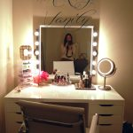 White Makeup Vanity Table With Lights And Chair And Drawers
