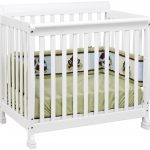 White Small Crib With Green Mattres