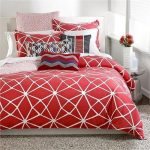White and red comforter idea  with modern pattern grey bedroom rug round metal side table