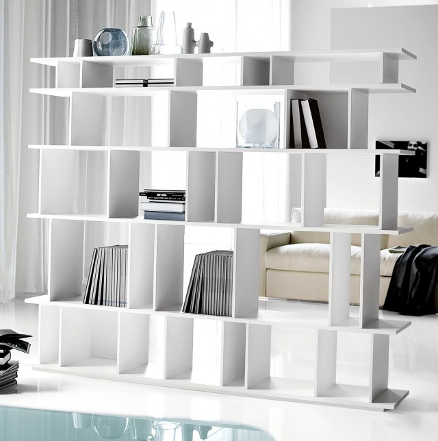 White Minimalist Bookshelves Idea As Room Parion