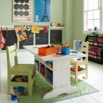 White modern craft table idea for kids with under shelving unit a pair of white modern chairs for kids a small green plastic rug in green with blue frame