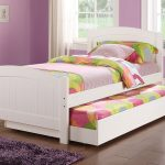 White painted wood pull out bed frame design