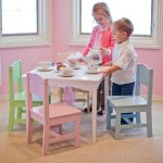 White table three units of wooden chair in multiple colors for kids