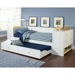 White trundle with storage and pull out bed
