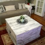 White washed wooden coffee table idea