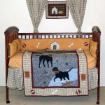 Wood Crib With Bedding Fish And Animal Decor Curtains