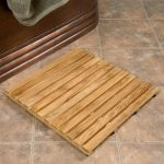 Wood shower mat without coat