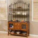 Wooden Baker Rack And Metal Material WIth Cabinets And Drawers For Kitchen Stuffs