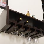 Wooden Black Wall Glass Wine Holder On White Wall