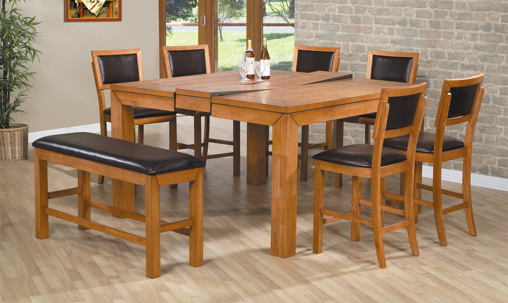 975ef2a9a821 Wooden Dining Room Table And Chairs In Hardwood Floor Room
