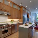 Wooden Kitchen Set WIth Feng Shui Marble Kitchen Table Near Small Dining Room With Red Carpet