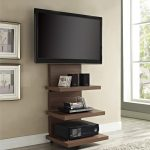 Wooden TV Stand Brown On Brown Wall And Brown Wood Floor Covered By Rug