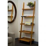 Wooden leaning ladder shelves design