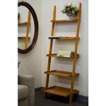 Wooden Leaning Ladder Shelves Design