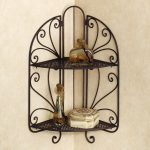 Wrought iron corner shelving unit