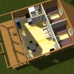 a floor plan for a wood cabin consisting of two bedrooms an open space for dining room and conversation room a bathroom and small kitchen a front terrace