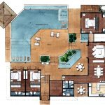 a home floor plan with swimming pool and outdoor space