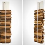 a modern wooden rack idea for modern fireplace