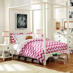 adorable and fashionable pottery barn for teen idea with pink chevron bedding sheet and wooden floor and white area rug