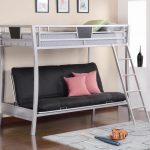 adorable black and gray convertible bunk bed design with pink pillows and stairs and gray frame and wooden floor and area rug and wall pictures