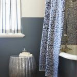 adorable blue patterned bohemian shower curtain design with pumpkin table and glass window and luxurious tub
