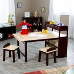 adorable brown beige art table for kids idea with bookshelves and pencil storage and bench and gray area rug and toy storage