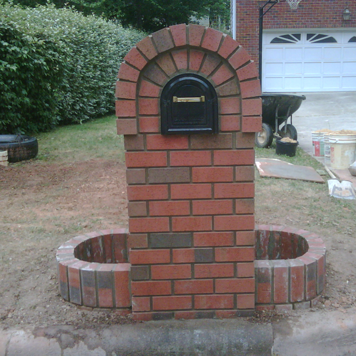 Adorable Clic Red Brick Mailbox Idea With Arched Style And Oval Planter