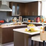 Adorable Natural Brown Wooden Kitchen Paint Idea With White Island And White Black Stools