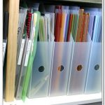 adorable semi transparent plastic scrapbok paper organizer idea on rack with small hole