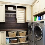 adorable small laundry room idea with wooden cabinet and basket shelves and wooden backsplash and wooden floor