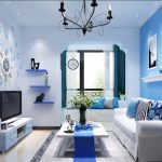 adorable soft blue ikea living room design with white sofa and white coffee table and tv console and chandelier and wall rack and wallpaper