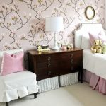 adorable white pink bedroom design with wooden dresser and white table lamp and white sofa slipcover and unique orchid cool wallpaper for wall design