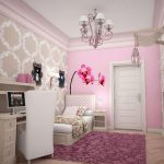 adorable white pink bedroom idea with creamy patterned wall paper peel and stick and purple area rug and chandelier and wall shelve and flower pattern