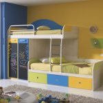 adorable yellow blue pics of bunk bed idea with railing and storage and vanity and gray area rug and floor lamp and glass window and blue wall accent