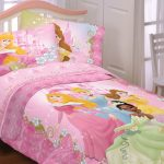 All Princess Bedding Idea With Pink Color And Adorable Headboard And White Chair And Glass Window And Wooden Floor
