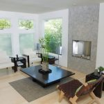 amazing ralaxing room design with fireplace and black rectangle coffee table and gray rug and brown chair and glass window